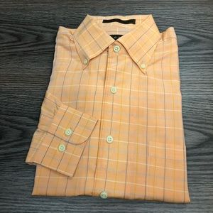Robert Talbott Orange w/ Blue Windowpane Shirt M